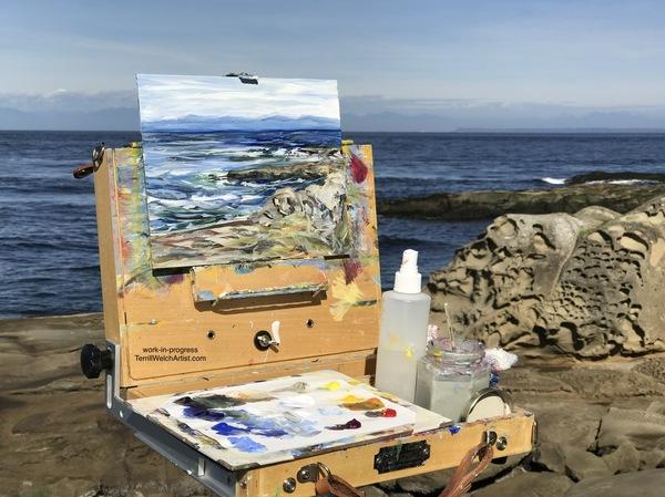 Plein air painting a restless sea at Georgina Point on Mayne Island