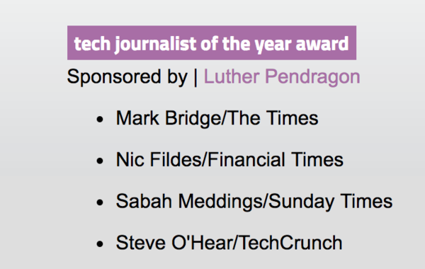 UK tech awards 'tech journalist of the year' shortlist 2018