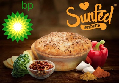 Sunfed Chicken plant-based pie at BP stations