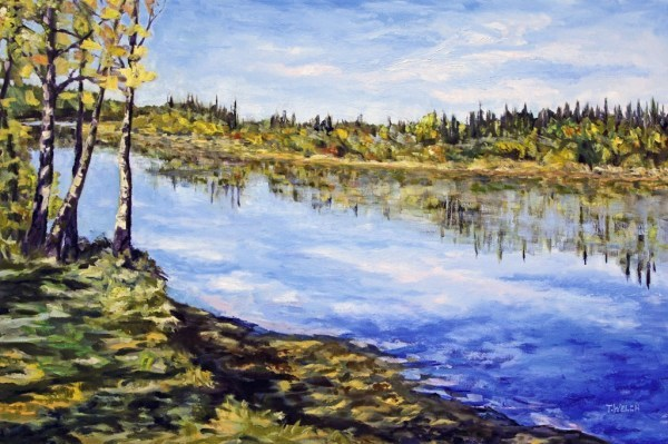 Stuart River Kicking Leaves by Terrill Welch  | Artwork Archive