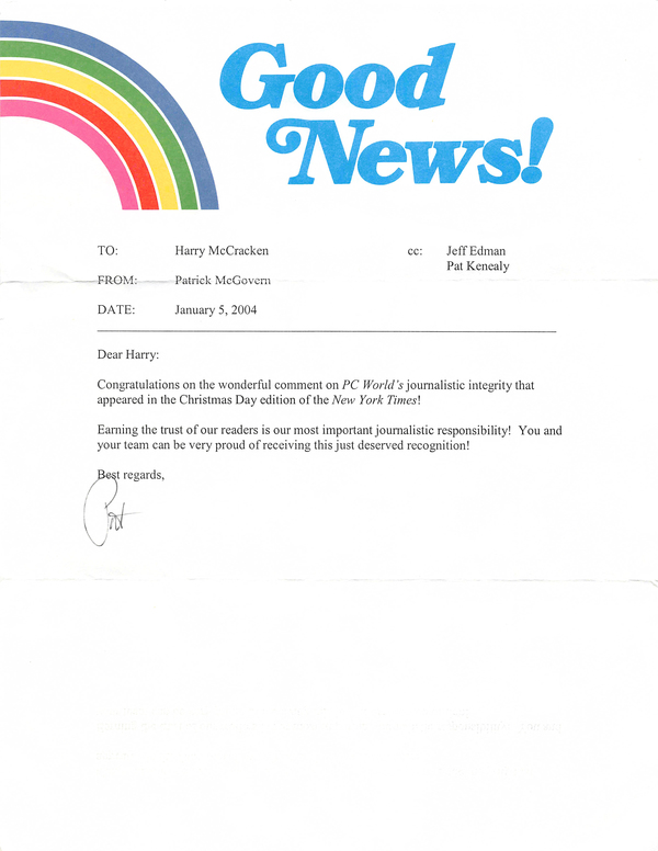 "One of Pat's ""Good News!"" letters (of which he must have written thousands)"