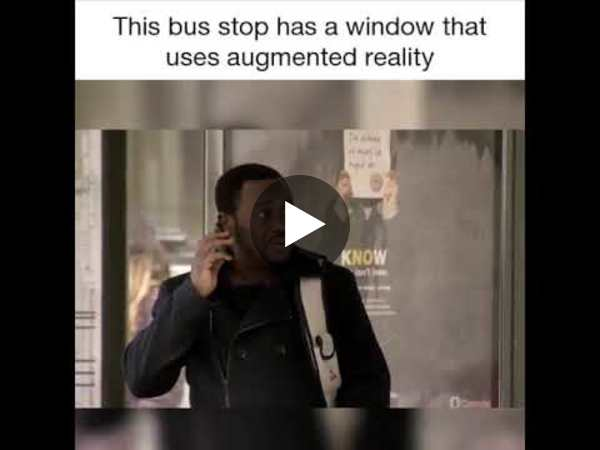 This BUS STOP has a window that uses Augmented Reality - YouTube