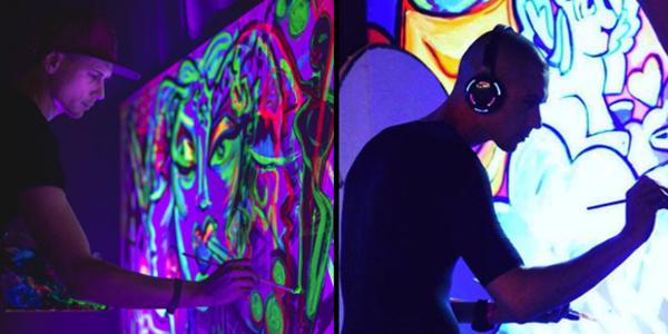 Laat live een kunstwerk maken met blacklight - EventGoodies