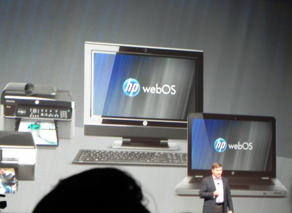 Another bad photo by me, of HP waxing ambitious about a WebOS-powered ecosystem of devices which never amounted to more than a slide in a presentation