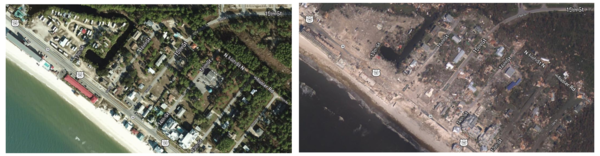 Before and after Hurricane Michael in Mexico Beach, FL, USA