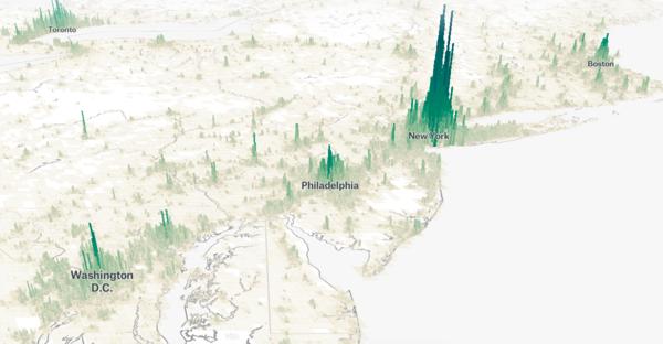 Diese Website zeigt die Bevölkerungsdichte als riesige grüne Balken