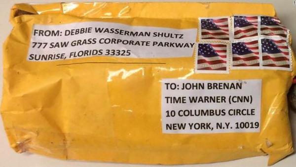 Een bompakket dat bij CNN belandde (foto: Reuters)