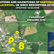 Map of the series of earthquakes reported in the days since fracking has resumed in the Blackpool area, after a seven year hiatus