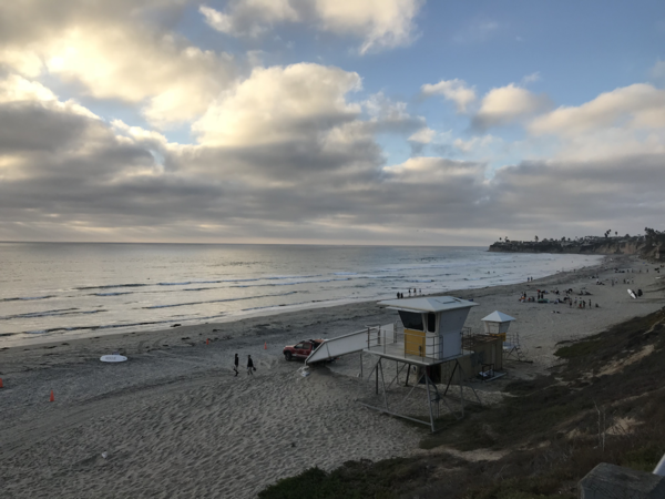 The view of Pacific Beach before we headed to the water!