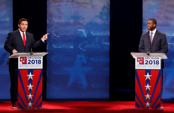 In Florida neemt de Republikein DeSantis het op tegen de Democraat Gillum voor het gouverneurschap (foto: Reuters)