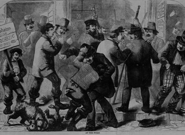 At the polls, circa 1880.