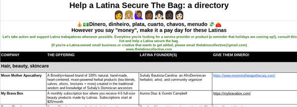 A mini directory of Latina-owned businesses
