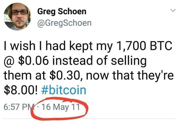 Bitcoin turned 10 years old this week. I'm guessing this guy didn't celebrate. (For those too lazy to math, the $500 he got for them in 2011 would be $11 million today.)