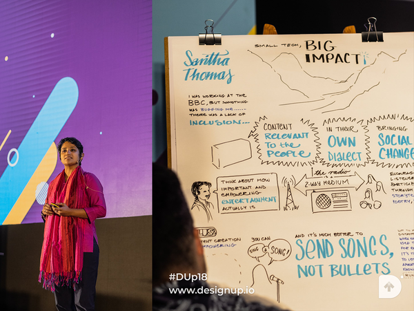 Saritha talking about Small Tech, Big Impact. Sketchnote by Ben Crothers
