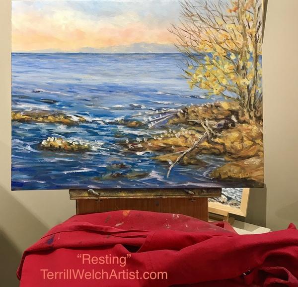 "Golden Evening Across the Strait of Georgia - 18 x 24 inch oil ""resting"""