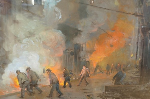 'Arbeiders in een gasfabriek' - pastel: Herman Heijenbrock (Vendhuhuis De Eland: kavel 1057)
