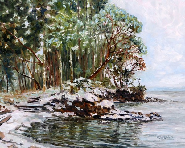"""Oyster Bay Mayne Island BC with fresh snow"" by Terrill Welch. SOLD."