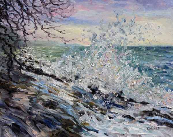 """West Coast Early Evening Winter Sea"" by Terrill Welch. SOLD."