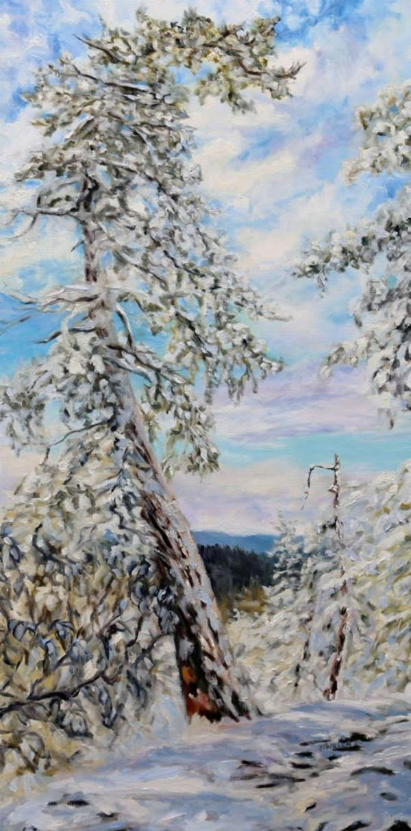 """Winter with the Old Fir on the Ridge"" by Terrill Welch. AVAILABLE."