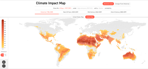 Number of days > 35ºC / 95ºF 1986 - 2005. Source: Climate Impact Lab