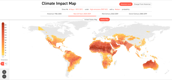 Number of days > 35ºC / 95ºF 2020 - 2039. Source: Climate Impact Lab