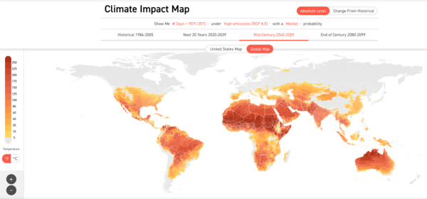 Number of days > 35ºC / 95ºF 2040 - 2059. Source: Climate Impact Lab