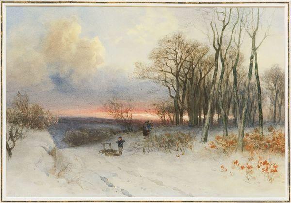 'Houtpsrokkelaars in de sneeuw' - aquarel: Piet Schipperus (herkomst: coll. Simonis & Buunk)