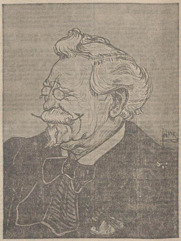 Portret van Piet Schipperus in een bijdrage van het Rotterdamsch Dagblad uit 1910 ter ere van zijn 70-ste verjaardag