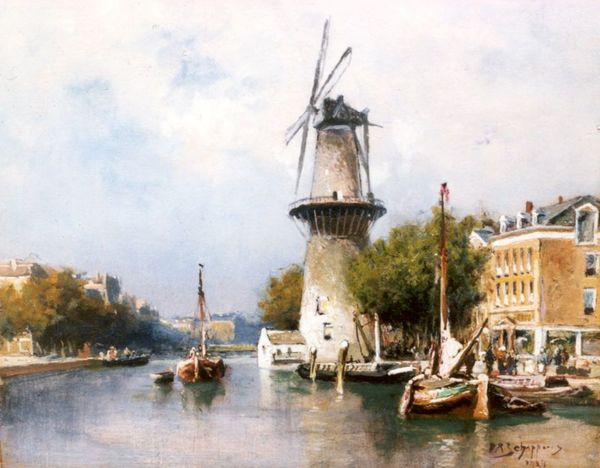 'Molen aan het Collvest te Rotterdam' olieverf op paneel: Piet Schipperus (herkomst: coll. Simonis & Buunk)