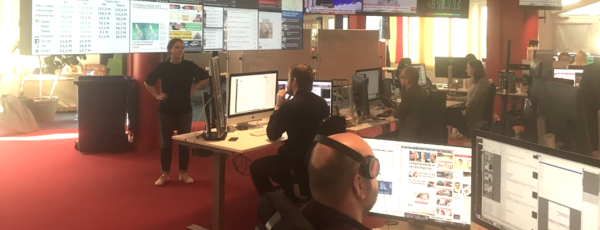 Een beeld vanop de redactie bij Expressen in Stockholm.