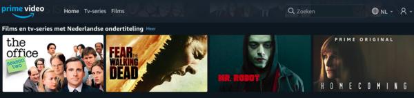 Amazon Prime heeft ook een aantal film en tv-series met Nederlandse ondertitels