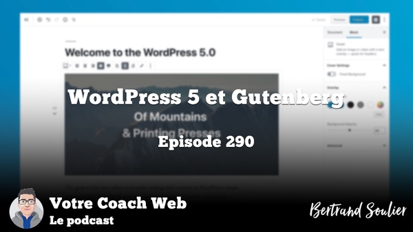 290. Episode spécial (sortie de) WordPress 5 et Gutenberg – Votre coach Web
