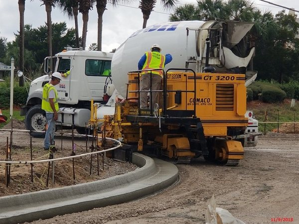 Crews are constructing new curbs and gutters