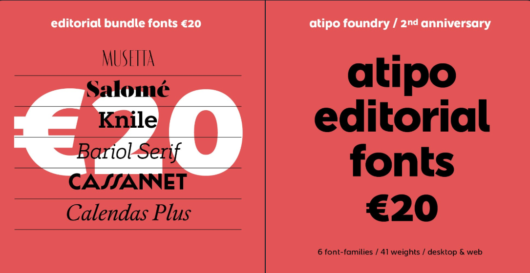 Get Atipo's editorial bundle (six typefaces for €20) before Friday, Dec 21