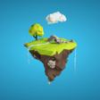 Floating island with waterfall