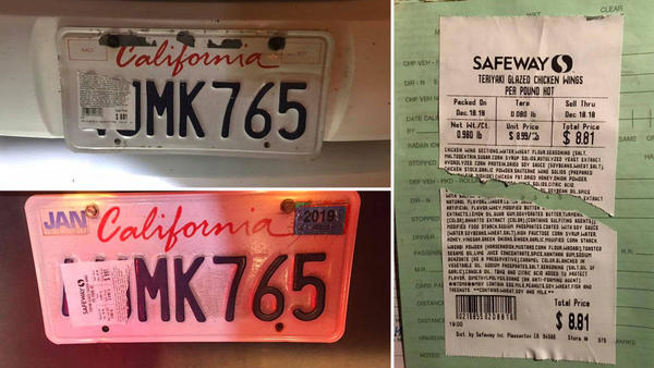 Driver Cited for Covering License Plates With Food Label for Chicken Wings - NBC Bay Area