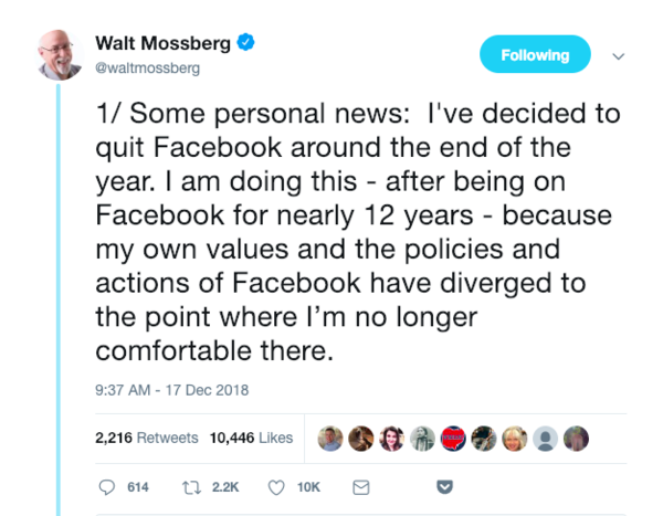 The legendary Walt Mossberg ditched Facebook.
