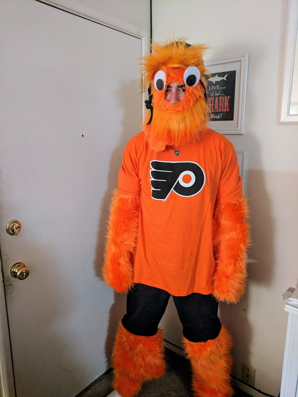 Here's Gritty, the hugely famous official team mascot of the Philadelphia Flyers. When not rooting his team to victory, Gritty masquerades as Jim — Math guru, soccer player, Highlighter VIP member, and all-around great guy. You can be like Jim! hltr.co/membership