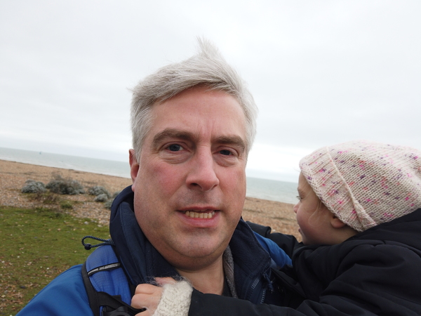 Selfie with daughter, on the beach.