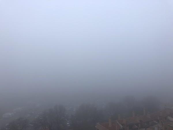 De prachtige historische stad Toledo (Spanje), maar dat is niet te zien door de fucking mist.