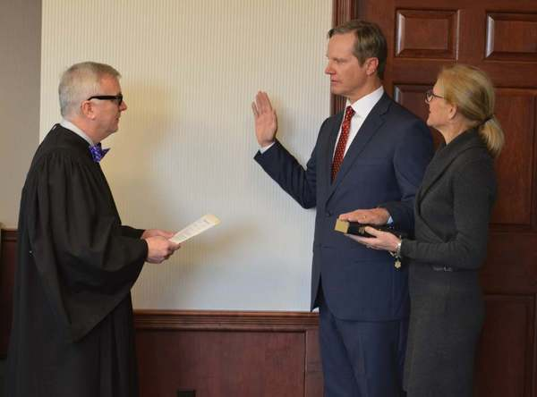 Federal Judge Walker swearing in Larry Keefe