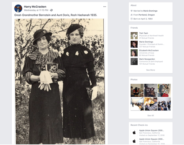 If you were my friend on Facebook, you'd see a lot of really old photographs of my relatives