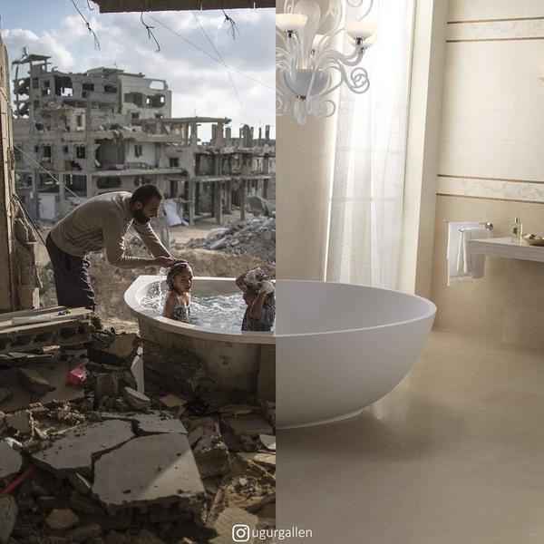 Des photomontages difficiles à regarder qui montrent les inégalités dans le monde