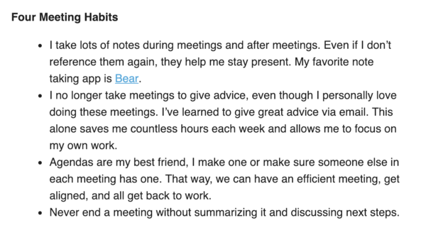 Meeting habits from Hiten Shah