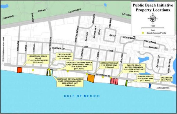 Public beach initiative property locations