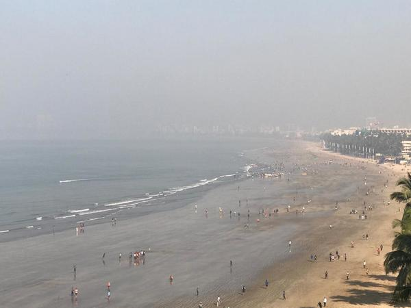 Pollution on the beach in Mumbai...