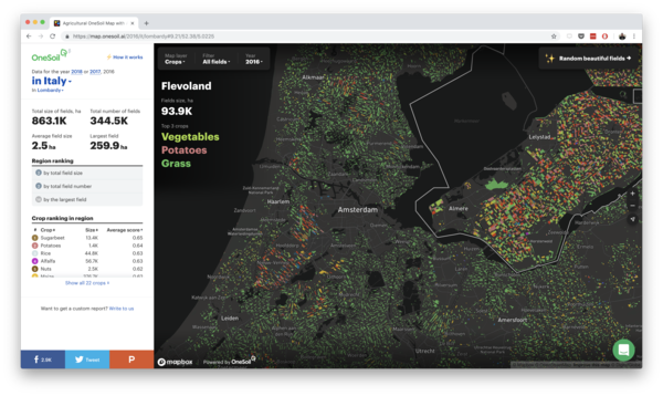 OneSoil's AI-generated map of different crop fields in the Netherlands (OneSoil)