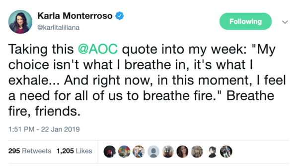 Bonus: some inspiration from Ocasio-Cortez via tech CEO Monterroso