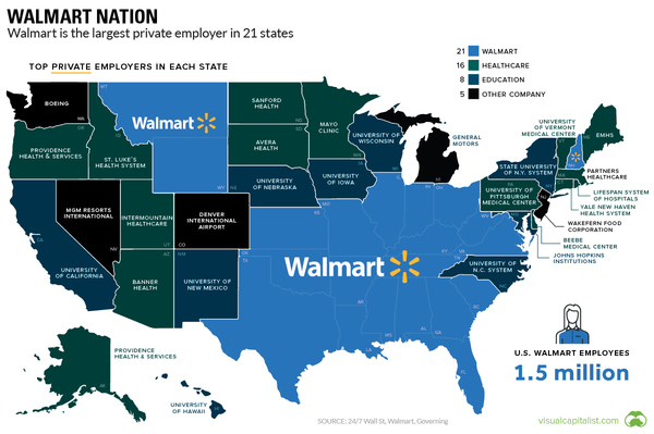 the largest private employer in every state