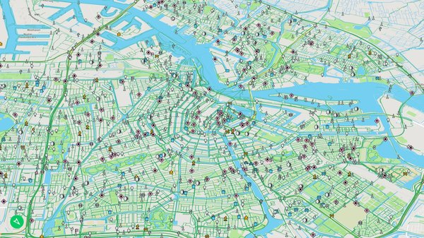 Mapillary's map of Amsterdam, with green lines indicating available street-level imagery, and icons indicating tags. (Mapillary)